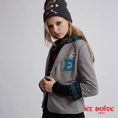 ETBOITE 箱子 BLUE WAY 休閒穿搭帽可拆棉質西裝外套-深灰