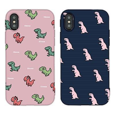 【TOYSELECT】iPhone X/Xs 時尚經典恐龍亂花手機殼