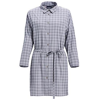荒野【wildland】女抗UV時尚格紋長版襯衫灰色