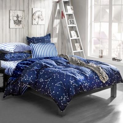 A-ONE 雪紡棉 雙人加大床包/薄被套四件組 流星雨 MIT台灣製
