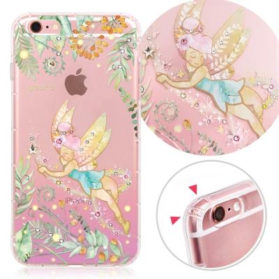 YOURS APPLE iPhone 6s+ 奧地利水晶彩繪防摔貼鑽手機殼-綠仙子