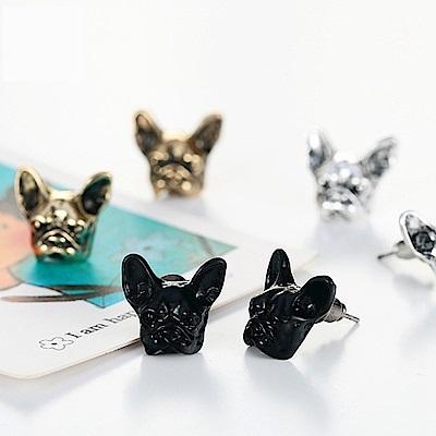 梨花HaNA 韓國可愛法鬥犬立體浮雕耳環