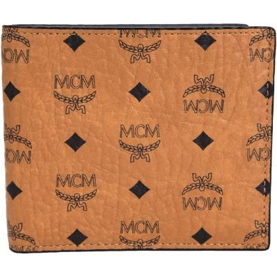 MCM Claus 品牌圖騰皮革八卡短夾(咖啡色)