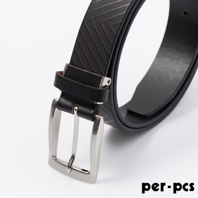 per-pcs ZIBIYA嚴選高品質皮革格紋皮帶_咖啡色(F8210K)