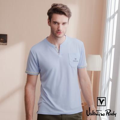 Valentino Rudy 范倫鐵諾.路迪 吸濕排汗冰涼機能T恤衫-紫藍-V領口袋
