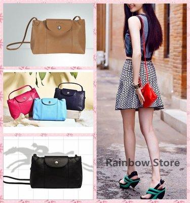 【Rainbow Store】 全新Longchamp Le Pliage Cuir 小羊皮迷你斜背包/郵差包(11色)