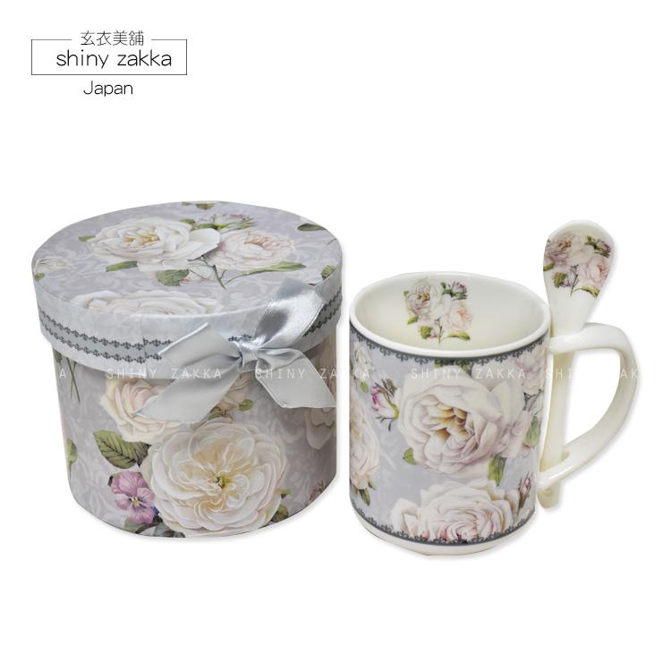 馬克杯-日本進口 白玫瑰馬克杯/咖啡杯禮盒(附湯匙)-玄衣美舖