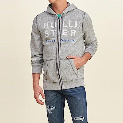海鷗 Hollister 經典大海鷗電繡文字連帽T恤-麻花灰色