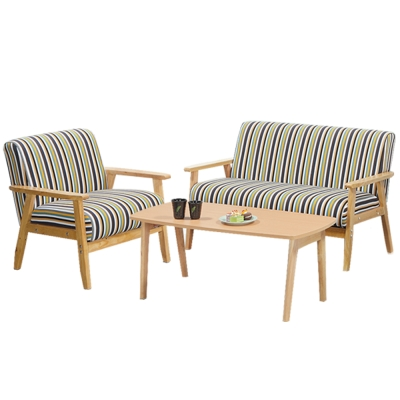 Boden 布里實木沙發椅+茶几組合 1人+2人+茶几