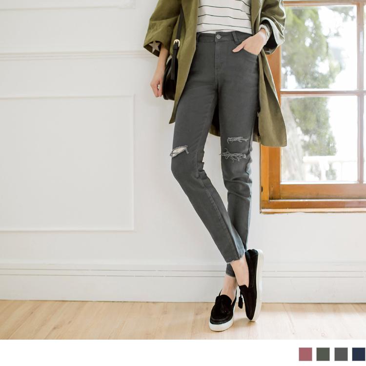 高含棉率性刷破感窄管褲
