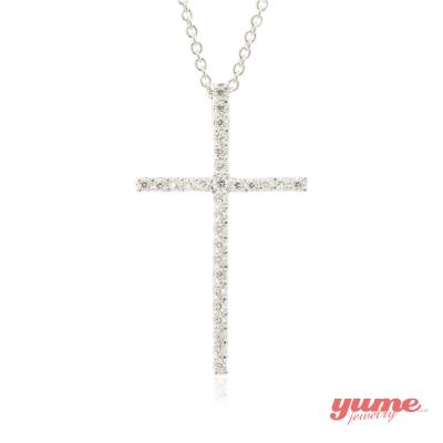 YUME K金經典十字架晶鑽項鍊