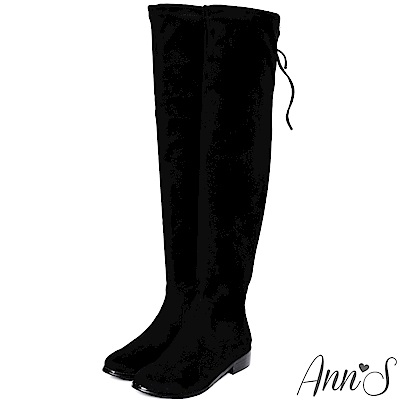 Ann'S 棉花糖版 微性感平底彈力側拉鍊過膝靴  細絨黑