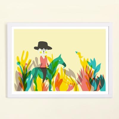西班牙插畫家Judy Kaufmann藝術版畫-小牛仔(掛畫附簽名/含木框)