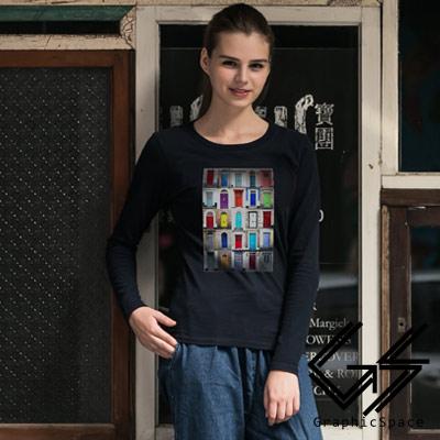 多色造型門圖案磨毛水洗長袖T恤 (共三色)-GraphicSpace
