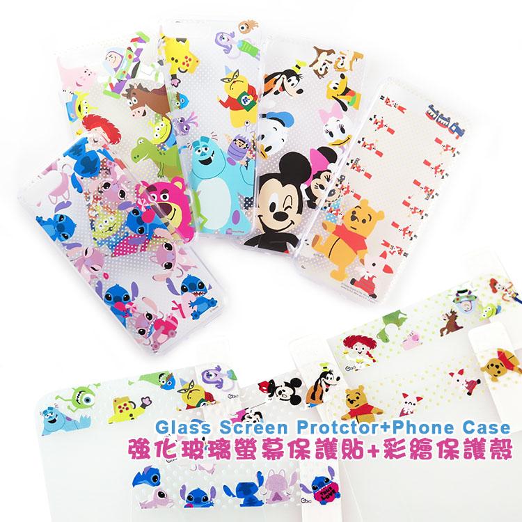 【Disney 】迪士尼iPhone 7 Plus童趣家族款玻璃保護貼+彩繪保護軟套_5.5吋