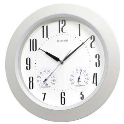 RHYTHM 日本麗聲 溫度 溼度 靜音恆動式秒針 掛鐘-銀框/37cm