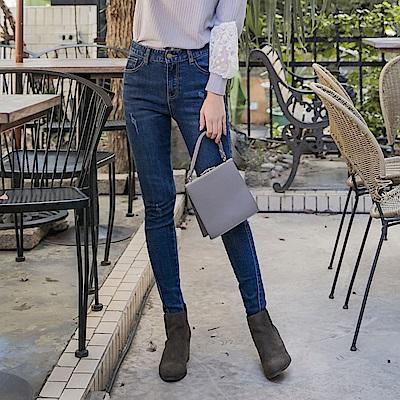 浪漫約會系列~褲腳不規則剪裁牛仔彈力窄管褲-OB嚴選