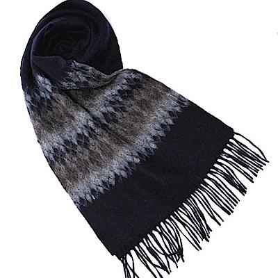 ELLE 學院風優雅圖案羊毛披肩