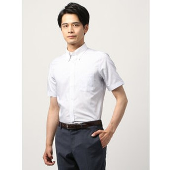 【THE SUIT COMPANY:トップス】【半袖・COOL MAX】クレリック&ボタンダウンカラードレスシャツ ストライプ 〔EC・FIT〕