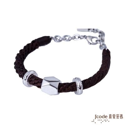 J code真愛密碼銀飾 左偏執面純銀編織繩男手鍊-棕