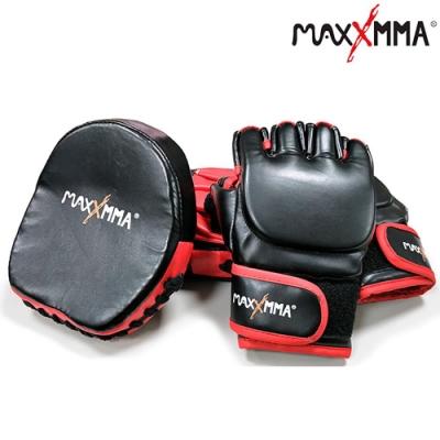 MaxxMMA 混合格鬥手套+小型拳擊訓練手靶(紅黑)