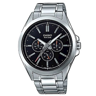 CASIO 商務男子滑動式秒針設計不鏽鋼腕錶-黑面(MTP-SW300D-1A)/52mm