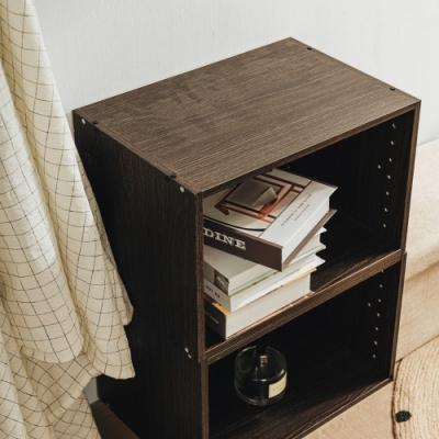 樂嫚妮 DIY 日式 收納櫃/空櫃/書櫃-深胡桃木色2入組-42X28.2X28.8cm