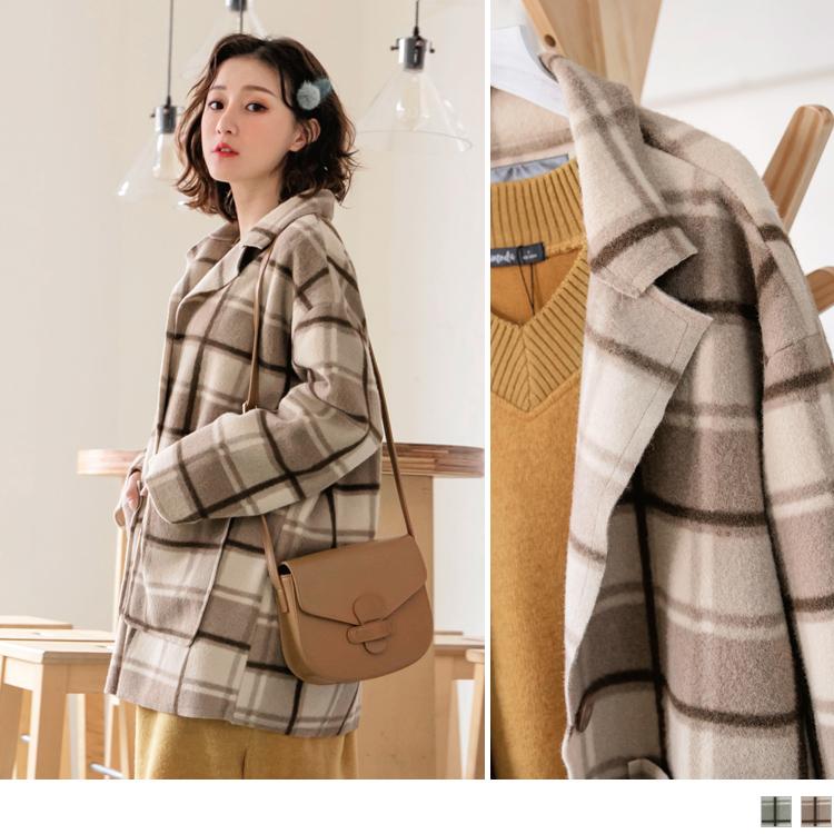 毛呢韓式格紋翻領修身大衣外套