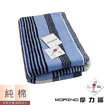 MIT純棉彩條緹花浴巾/海灘巾- 水藍紋 MORINO摩力諾