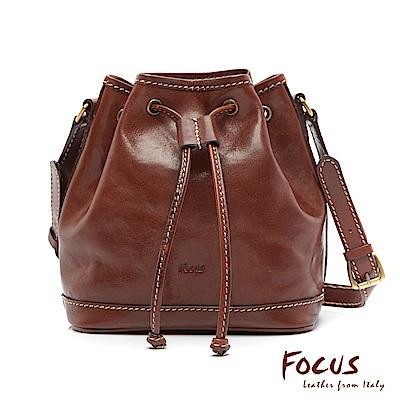 FOCUS經典原皮斜肩背兩用小水桶包(FTE7011)