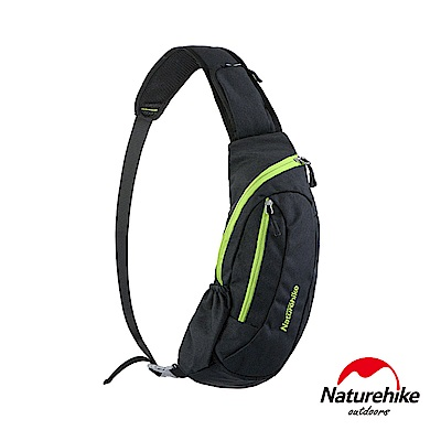 Naturehike 6L多功能防水單肩斜背包 胸前包 黑底綠邊-急