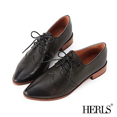 HERLS 全真皮沖孔尖頭德比牛津鞋-黑色