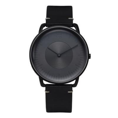 ZOOM SILO 3861 極地光暈植鞣皮革手錶(ZM3861)-黑/39mm