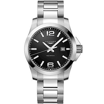 LONGINES 浪琴 Conquest 300米石英腕錶 黑x銀 43mm L37604566