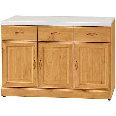綠活居 艾戈利時尚4尺雲紋石面實木餐櫃/收納櫃-121x42x81.5cm免組