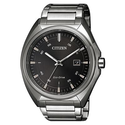 CITIZEN 懷舊轉盤光動能腕錶-銀X咖-40mm