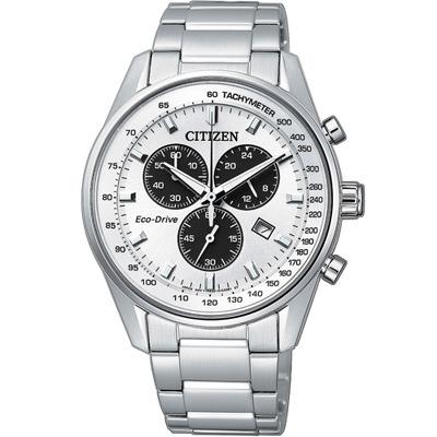 CITIZEN 星辰 時刻潮流光動能計時腕錶(AT2390-58A)-銀白/39.8mm