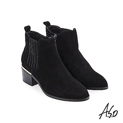 A.S.O 阿瘦 側邊燙鑽羊絨靴 黑 10024000107-99