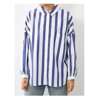 RODEO CROWNS WIDE BOWL Thickストライプボリュームシャツ 柄ブルー
