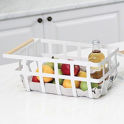 澄境 居家木質單把手收納籃/手提籃/瀝水籃/水果籃(2入)