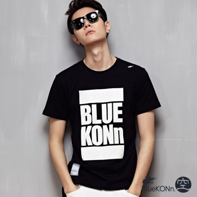 空 BLUE WAY 夜光印花網布拼接T恤-黑色