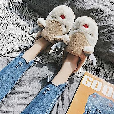 (暢貨)立體麋鹿棉保暖毛絨拖鞋 (金黃色款)