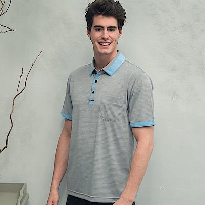 Valentino Rudy 范倫鐵諾.路迪 吸濕透氣涼爽機能Polo衫 鴿子灰淺藍領