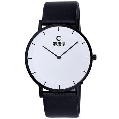 OBAKU 纖薄哲學二針時尚腕錶(黑帶黑框白/大)-40mm
