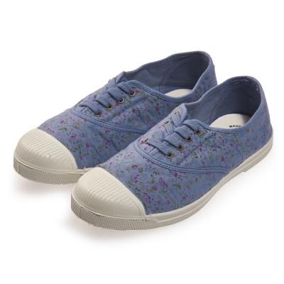 (女)Natural World 西班牙休閒鞋 碎花4孔綁帶基本款*藍色