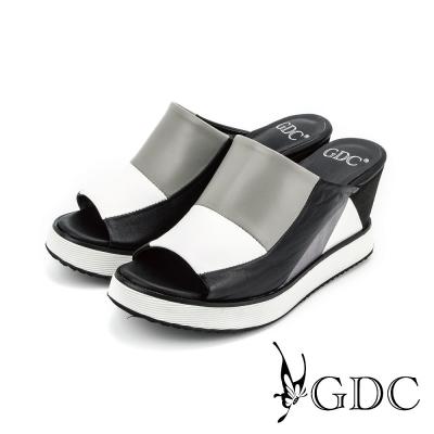 GDC-彩色拼接楔型厚底真皮魚口休閒涼拖鞋-白色