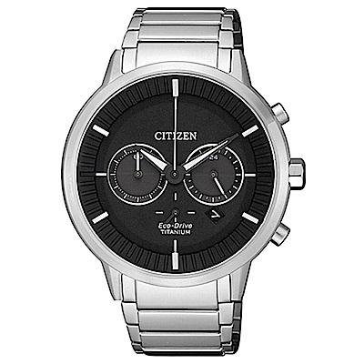 CITIZEN 星辰 GENTS 時尚設計師簡約腕錶-黑銀(CA4400-88E)