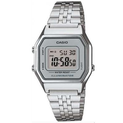 CASIO 經典復古數字型電子錶-(LA-680WA-7D)銀色x灰框/28.6mm