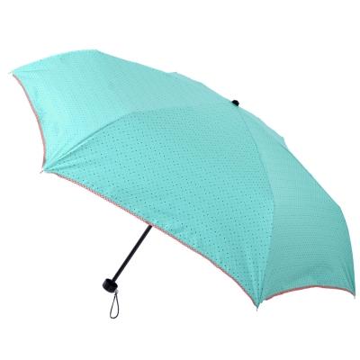 2mm 色膠抗UV 彩點花邊輕量手開傘 藍綠
