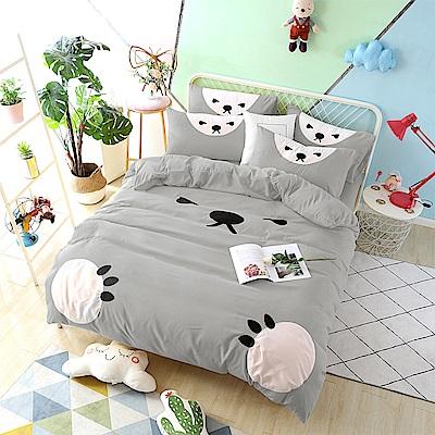 HUEI生活提案 柔絲絨被套床包四件組 雙人 熊愛睏灰